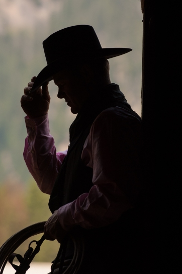 West Yellowstone, MT. Cowboys and horses on a dude ranch.